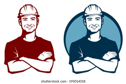 line illustration of a smiling construction worker with safety hard hat
