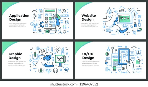 Line illustrations of application, graphic, website and user experience design. Doodle vector concepts of design and development for web banners, hero images or printed materials