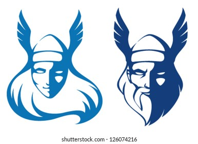 line illustrations of characters from Scandinavian mythology - a valkyrie and the ancient god Odin