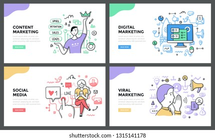 Line illustrations of digital marketing, content management system, social media & viral marketing. Doodle vector concepts for web banners, hero images or printed materials