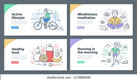 Line illustrations of healthy habits: riding a bike, meditating with mindfulness, eating healthy food, running in the morning. Doodle vector concepts for web banners, hero images or printed materials