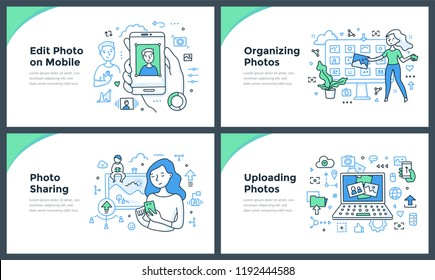 Line illustrations of taking, editing, organizing & uploading photos online. Doodle vector concepts of sharing visual content for web banners, hero images or printed materials