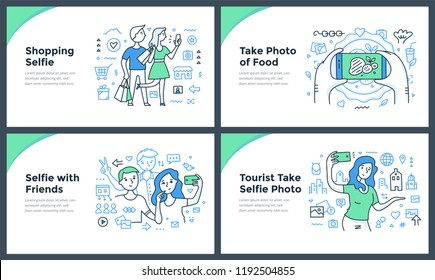 Line illustrations of taking photos, catching the moments of everyday life & making selfies with smartphone. Doodle vector concepts of mobile photography