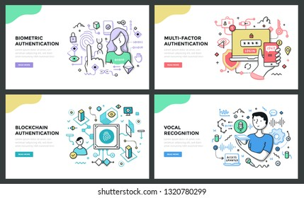 Line illustrations of trending authentication technologies such as biometric, multi-factor, blockchain and vocal recognition. Doodle vector concepts for web banners, hero images or printed materials