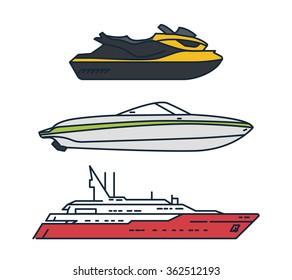 Line Illustrations of Vehicles, Boat, Ship, Jet Ski Icons