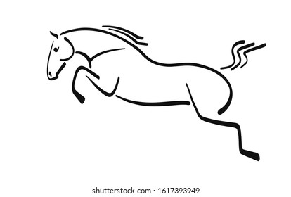 Line image of a jumping horse