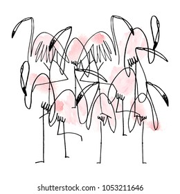line ink pattern. hand drawn abstract flamingo pattern. beautiful flamingo design. modern line drawing. flamingo set. cartoon bird character. isolated on white background. different poses. minimalism.