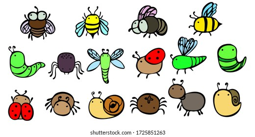Line insects in color. Set of small, thick, simple  Insects, doodle style. Print for children's coloring, print for clothes, t-shirts, cups, postcard. Coloring. Vector. Line insect.
