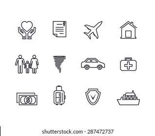 Line insurance icons set. Protection finance, security and documents and contract,. Vector illustration