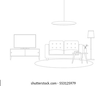 Line interior of living room with furniture. Vector thin illustration with sofa, tv and lighting.