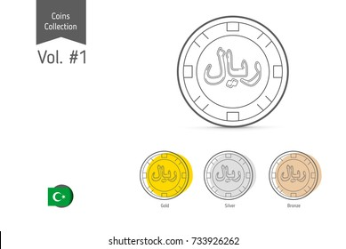 Line Islamic Rial coin vector. Isolated on white background. Simple thin line coin icons for websites, web design, mobile app, infographics.
