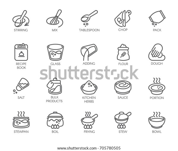 Line Isolated Icons On Kitchen Theme Stock Vector (Royalty