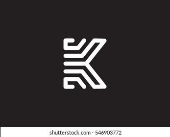 Line K Letter Logo design concept. Creative Line Alphabet emblem template. Graphic Symbol for Corporate Business Identity. Vector graphic element