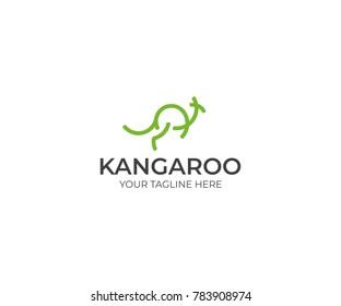 Line Kangaroo Logo Template. Abstract Wallaby Vector Design. Animal Illustration