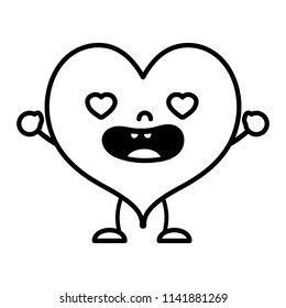 line kawaii lovestruck heart with arms and legs