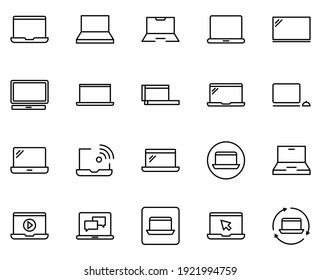 Line laptop icon set isolated on white background. Outline electronics symbols for website design, mobile application, ui. Collection of device pictogram. Vector illustration, editable strok. Eps10
