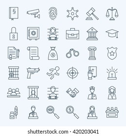 Line Lawyer Attorney and Crime Icons Set. Vector Set of Modern Thin Outline Law and Justice Items.