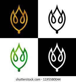 line leaf logo design