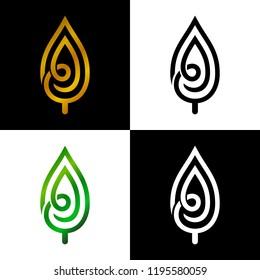 line leaf logo template