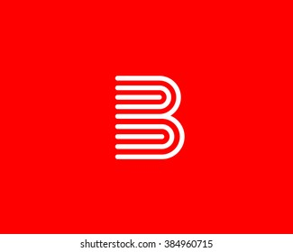 Line letter B book logotype. Abstract moving airy logo icon design, ready symbol creative vector sign.