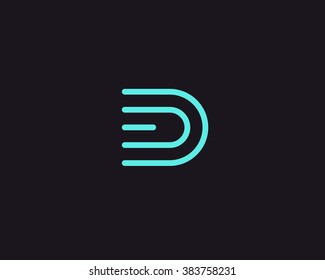 Line letter D logotype. Abstract moving airy logo icon design, ready symbol creative vector sign.