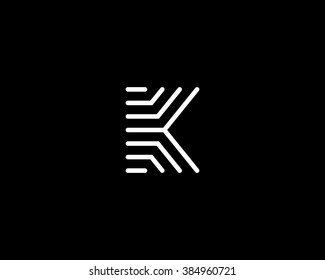 Line letter K logotype. Abstract moving airy logo icon design, ready symbol creative vector sign.