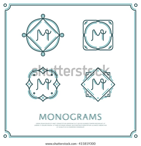Line Letter M Monogram. Vector Logo. Design Border Elements.