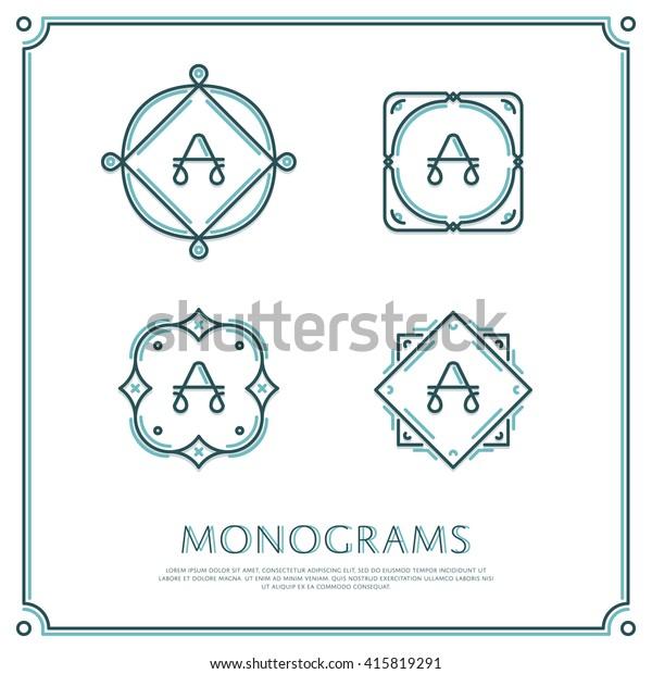 Line Letter A Monogram. Vector Logo. Design Border Elements.