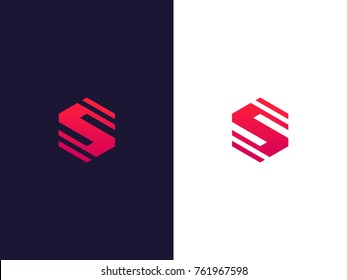 Line letter S hexagon logo concept. Modern S emblem design. Vector logo element