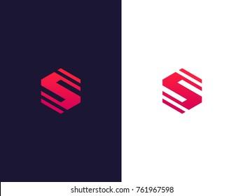 Line letter S hexagon logo concept. Modern S emblem design. Vector logo element