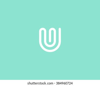 Line letter U logotype. Abstract moving airy logo icon design, ready symbol creative vector sign.