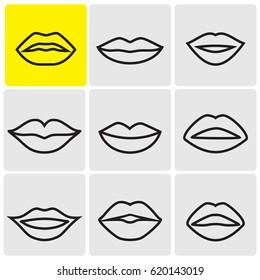 Line lips icons