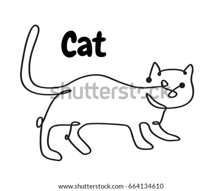 Line Logo Cat Pet Animalsblack White Stock Vektorgrafik Lizenzfrei
