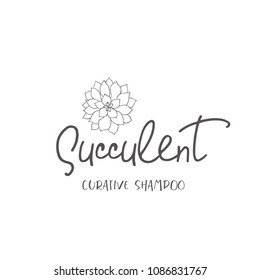 Line logo of succulent. Style design elements for branding.