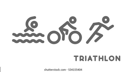 Line logo triathlon. Figures triathletes on white background. Swimming, cycling and running symbol.