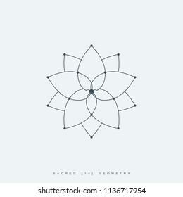 line lotus flower or flower of life. sacred geometry. mandala ornament. esoteric or spiritual symbol. isolated on white background. vector illustration