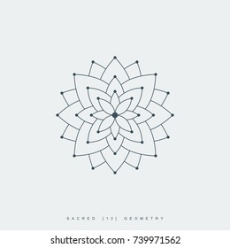 line lotus flower or flower of life. sacred geometry. mandala ornament. esoteric or spiritual symbol. isolated on white background. vector illustration