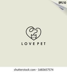 Line Of Love Pet Logo Design. Love Pet Logo Template. Modern Design. Flat Logo. Vector Illustration