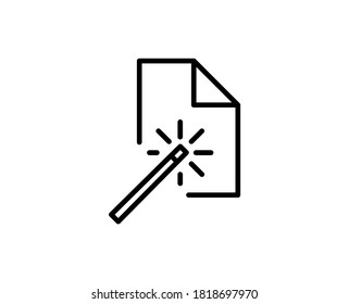 Line Magic wand icon isolated on white background. Outline symbol for website design, mobile application, ui. Magic wand pictogram. Vector illustration, editorial stroke. Eps10