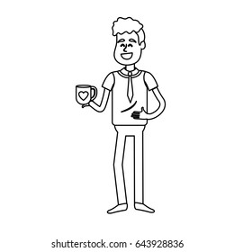 line man with coffee cup in his hand and elegant wear