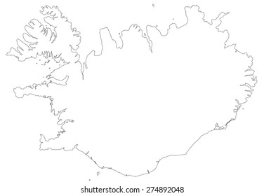 line map of Iceland
