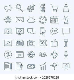 Line Marketing Icons. Vector Set of Thin Outline Digital Promotion Symbols.