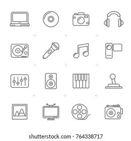 Line Media, Entertainment and technology icons  - vector icon set