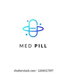 Line medicine icon blue gradient emblem logos, web online concept. Logo of pill, atom, planet, pharmaceutical icons