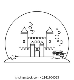 line medieval castle with coffer under water