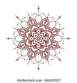 Line mehndi mandala. Intricate ornate henna design. Template for coloring book. Vector illustration.