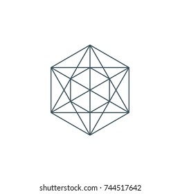 line metatrons cube. sacred geometry. linear pentagram sign or symbol. esoteric or spiritual symbol. isolated on white background. vector illustration