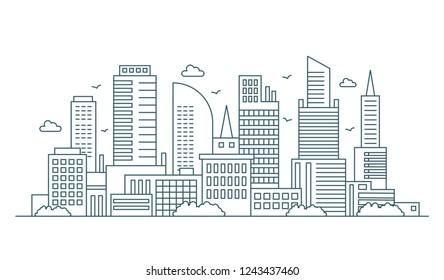 Line modern urban big city panorama. Outline stroke cityscape skyscrapers vector illustration.