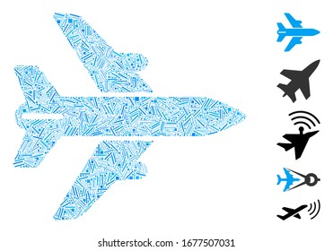 Line Mosaic based on airplane icon. Mosaic vector airplane is formed with randomized line elements. Bonus icons are added.