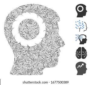 Line Mosaic based on human memory wheel icon. Mosaic vector human memory wheel is created with random line dots. Bonus icons are added.